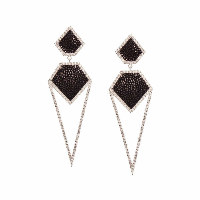 Cara Rhodium Plated Silver Earrings With Black Stingray Leather