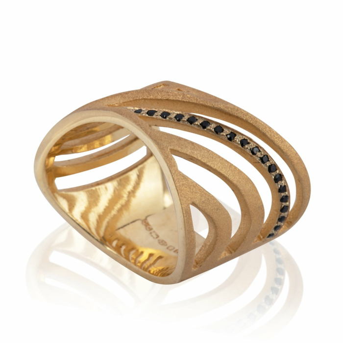 Yellow Gold Vermeil & Black Spinel Cut-Out Sharch Ring