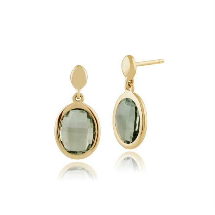 Gemondo 9kt Yellow Gold Mint Quartz Oval Earrings