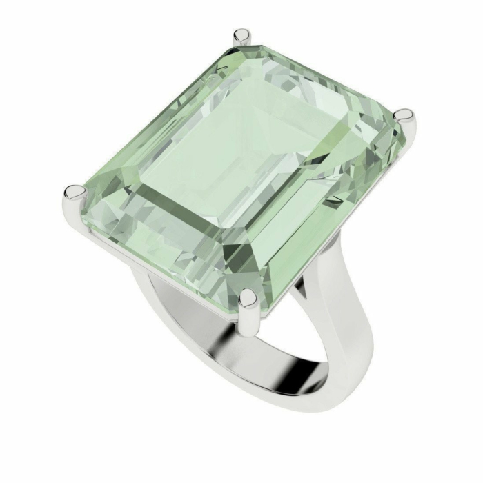 Green Amethyst Emerald Cut Sterling Silver Cocktail Ring