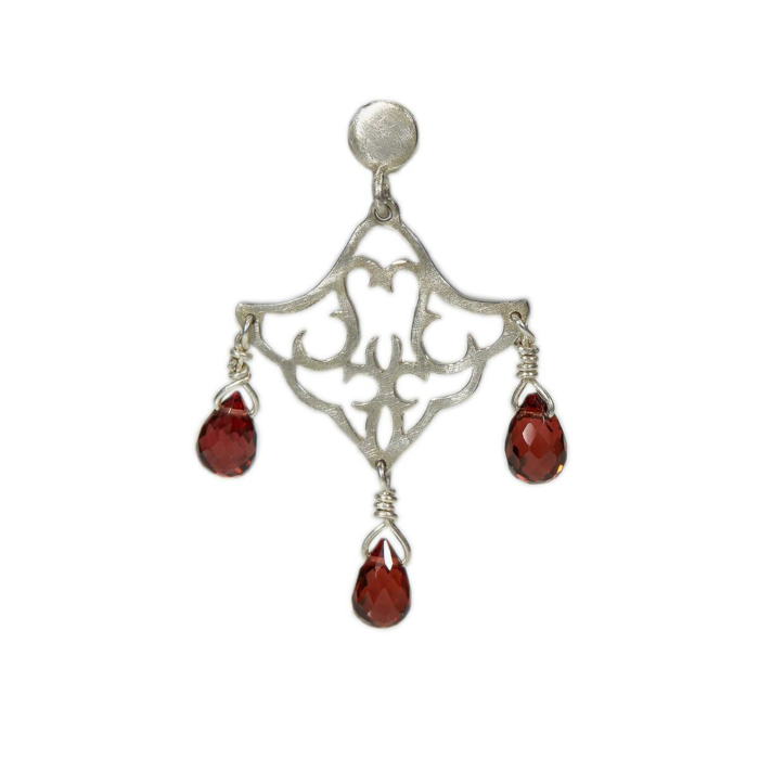Sterling Silver Small Dangling Earrings With Red Garnet