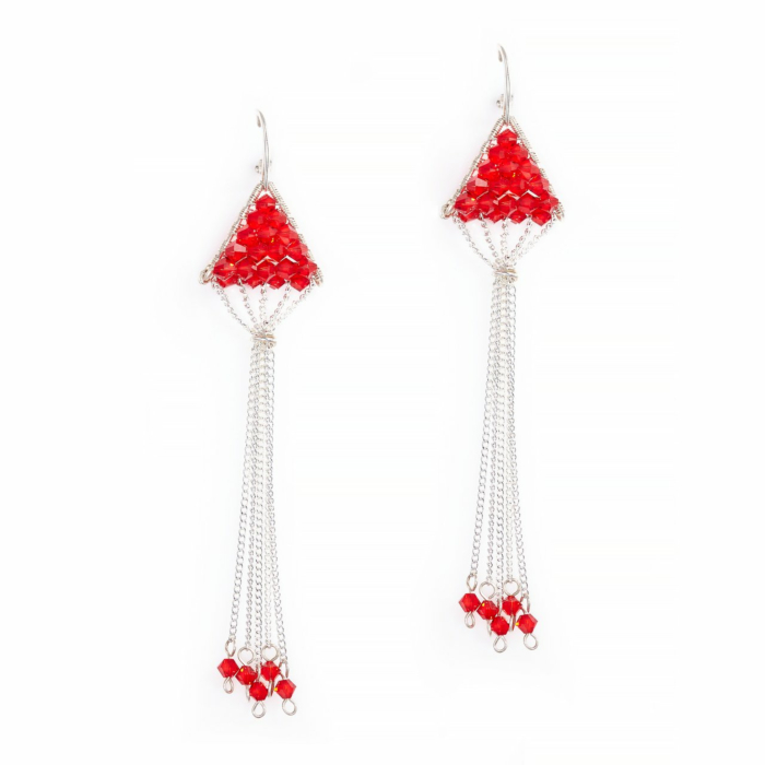 Sterling Silver Triangulum Red Crystal Earrings