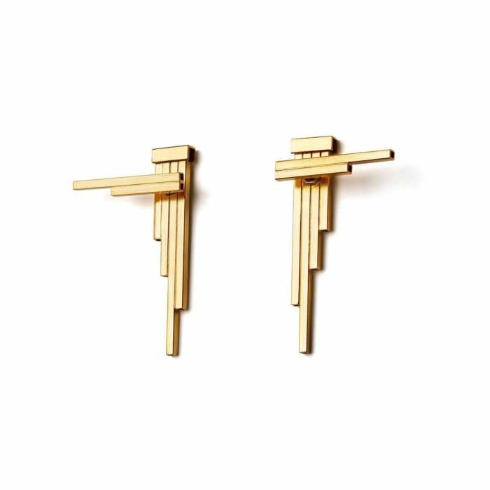 Gold Plated Silver Double Sided Concord Geometric Earrings