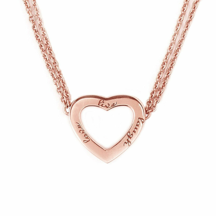 Rose Gold Plated Live Laugh Love Necklace