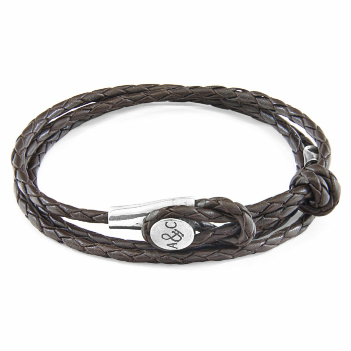 Dark Brown Dundee Silver and Braided Leather Bracelet