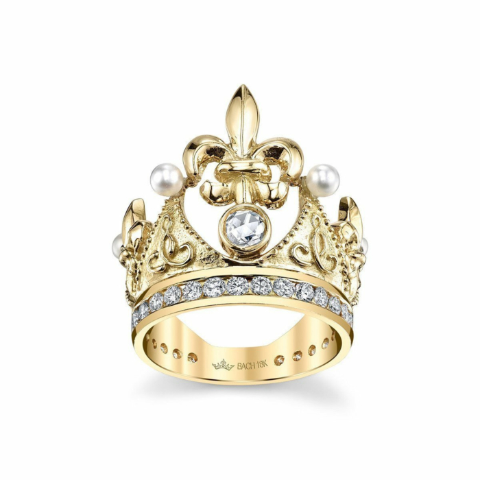 Fleur De Lis Crown Ring With Diamonds And Pearls