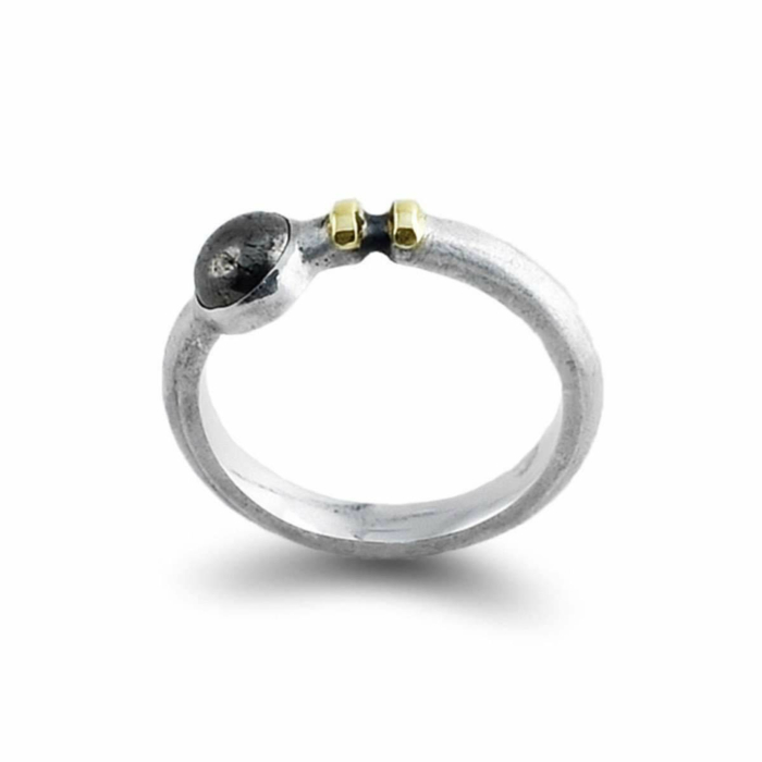 Sterling Silver & 14kt Gold Contrast Ring With Pyrite Cabochon
