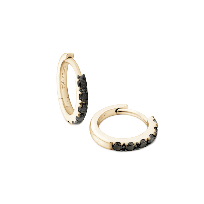 18kt Yellow Gold & Black Diamond Huggie Earrings