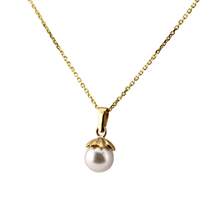 Yellow Gold Electric Flower White Pearl Necklace