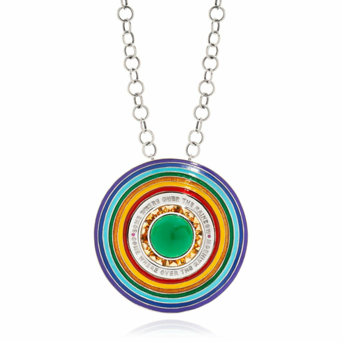18kt Gold Enamel Somewhere Over The Rainbow Necklace