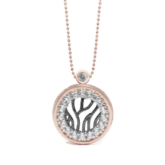 18kt Rose Gold & Rhodium Plated Silver Sapphire Woods Necklace