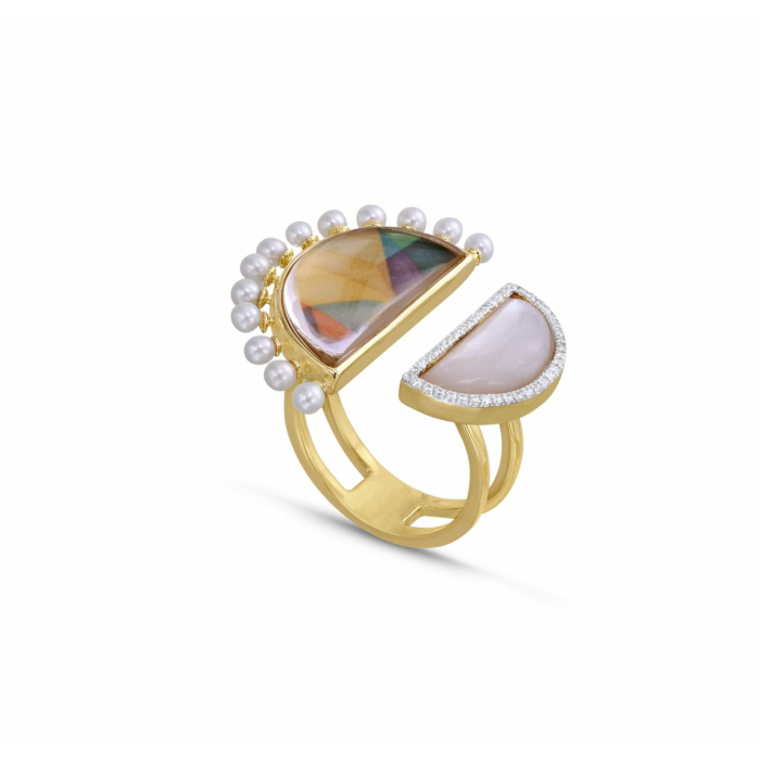 My Colorful Legacy Pearl & Moonstone Diamond Ring
