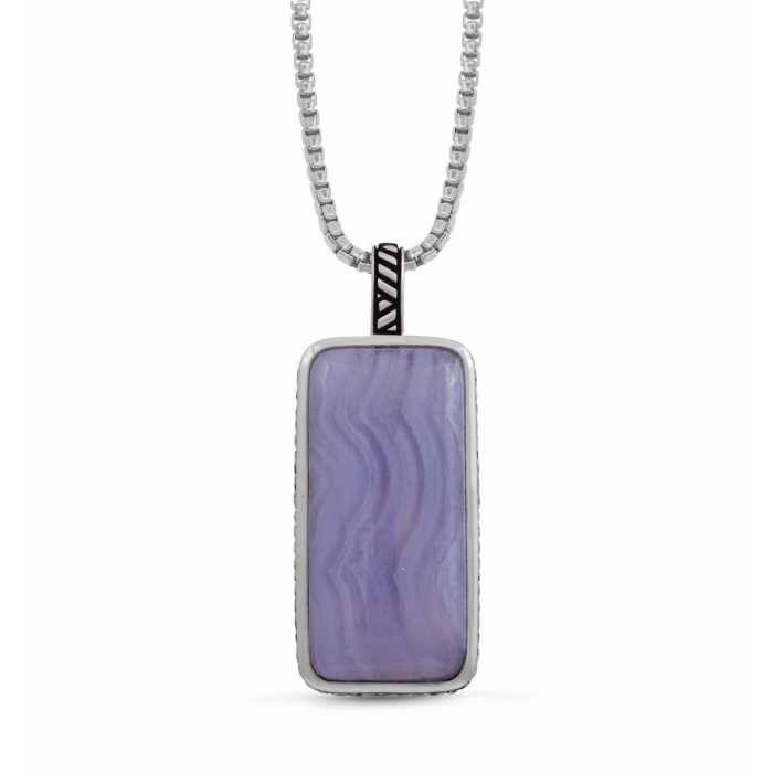 Sterling Silver Blue Lace Agate Stone Tag