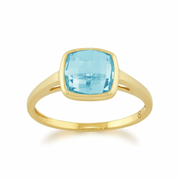 Gemondo 9kt Yellow Gold Square Blue Topaz Ring