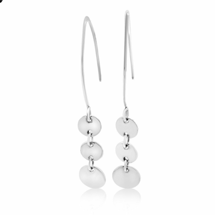 Sterling Silver Cherish Circle Small Dangle Marquise Earrings