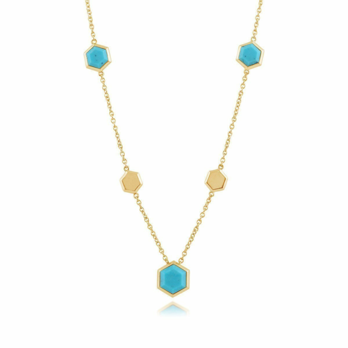 Gemondo Yellow Gold Plated Silver & Turquoise Hexagonal Prism Necklace