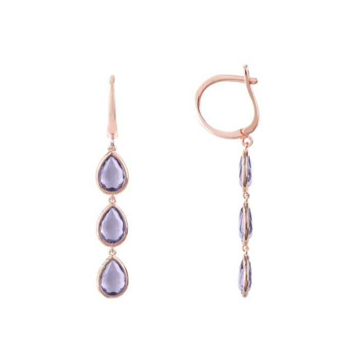 Sorrento Triple Drop Earrings Rose Gold Amethyst