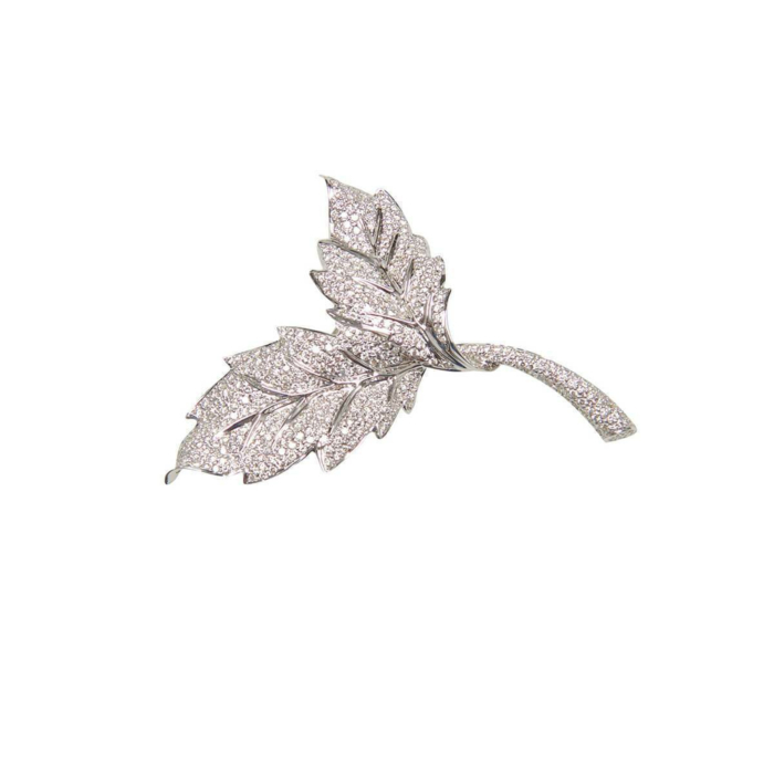 18kt White Gold Two Leaf Diamond Brooch