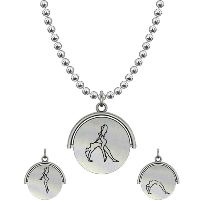 Allumersutra 13MM Silver Pendant Necklace - Girl And Girl - The Bridge