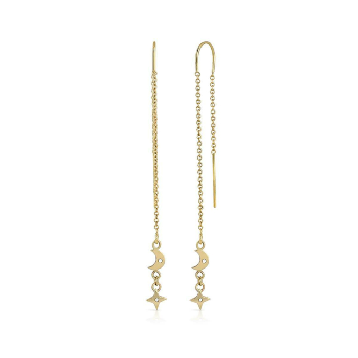 Yellow Gold Star & Moon Dangle Earrings
