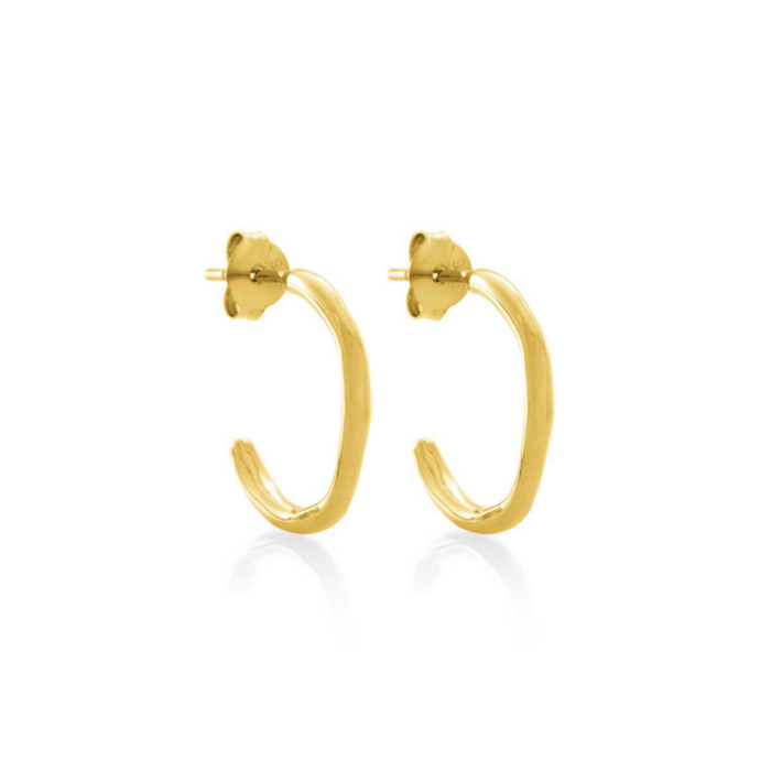 Yellow Gold Plated Circle Of Life Hoop Earrings