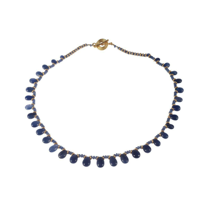 Yellow Gold Homage In Blue Necklace | Goldspindel