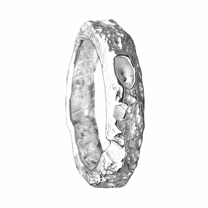 Cornish Beach Sand Textured 18kt White Gold Wedding Ring