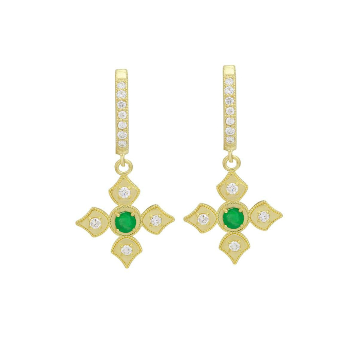18kt Yellow Gold Emerald & Diamond Dangle Earrings With Diamond Hoops