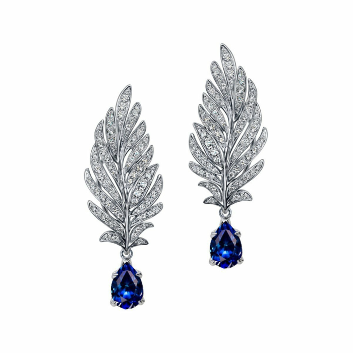 White Gold, Diamond & Sapphire Angel Earrings | Chekotin Jewellery