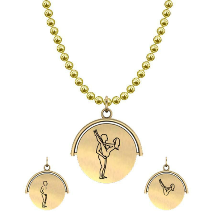 Allumersutra 13MM Gold Pendant Necklace - Girl And Boy - The Lift