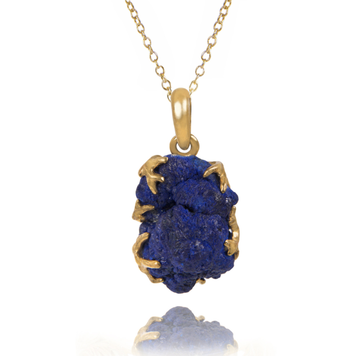 Gold Plated Silver Azurite Pendant