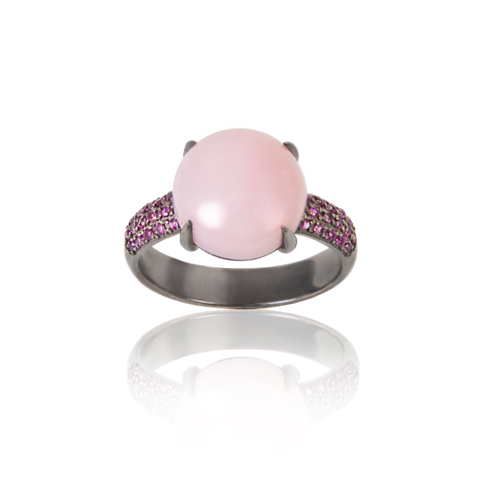 Black Rhodium Plated Silver & Rose Opal Ring
