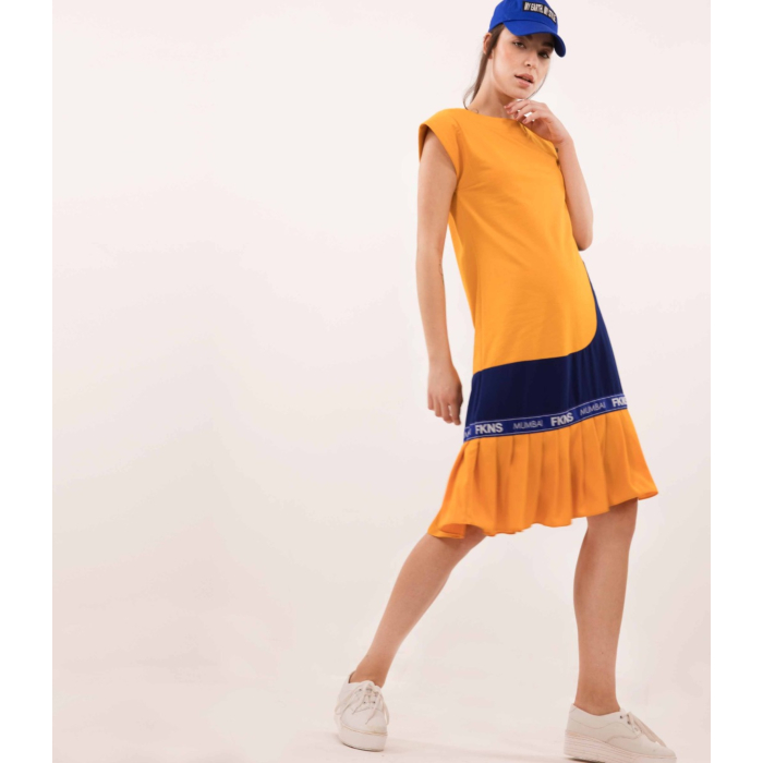 FKNS Yellow Shift Dress with Blue Detail