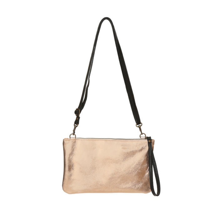 Rose Gold leather clutch with handles