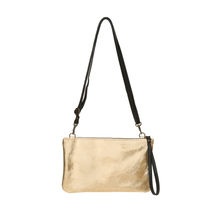Gold Leather Purse with two handles