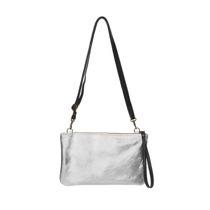 Silver Leather Purse with handles