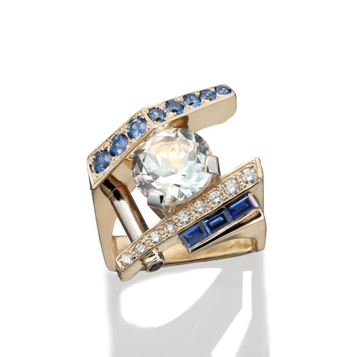14kt Yellow Gold Contemporary Sapphire And Diamond Ring