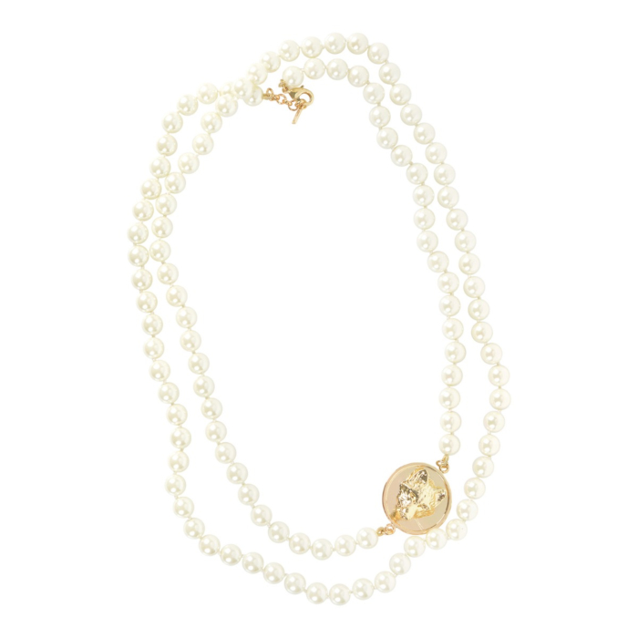 Long Glass Pearl Necklace Gold