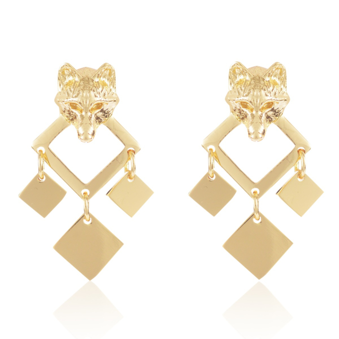 Gold Night Wolf Earrings
