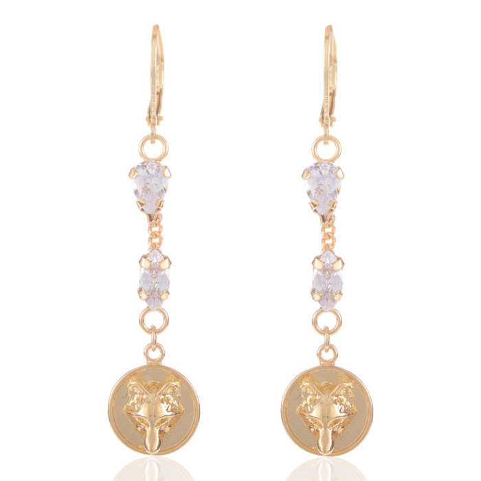 Wolf Crystalized Earrings Gold
