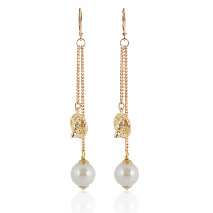 Gold wolf-disc pearl earring
