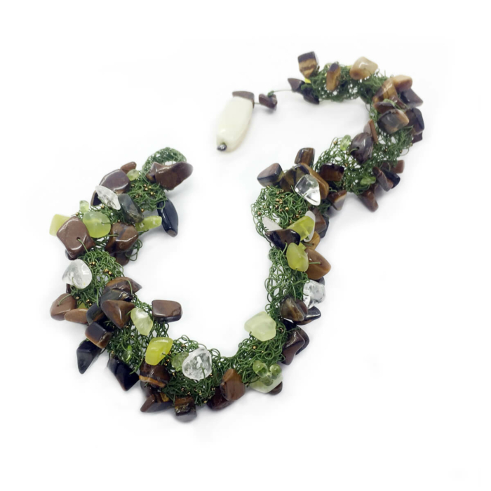 Wire Green Nature Peridot, Quartz, Agate & Tiger's Eye Necklace