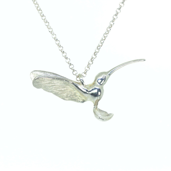 Sterling Silver Hummingbird Pendant with Diamond