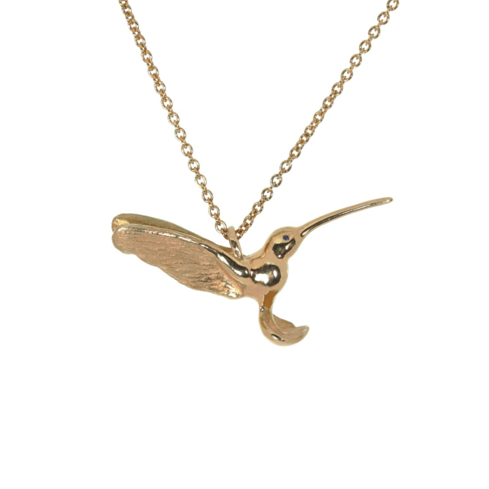 9kt Rose Gold Gilded Hummingbird Pendant with Sapphire