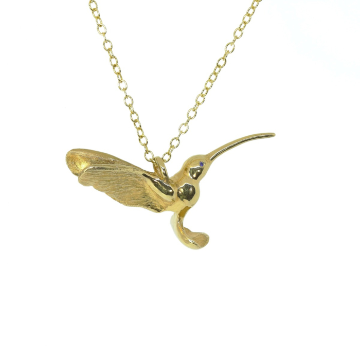 9kt Yellow Gold Plated Hummingbird Pendant with Sapphire