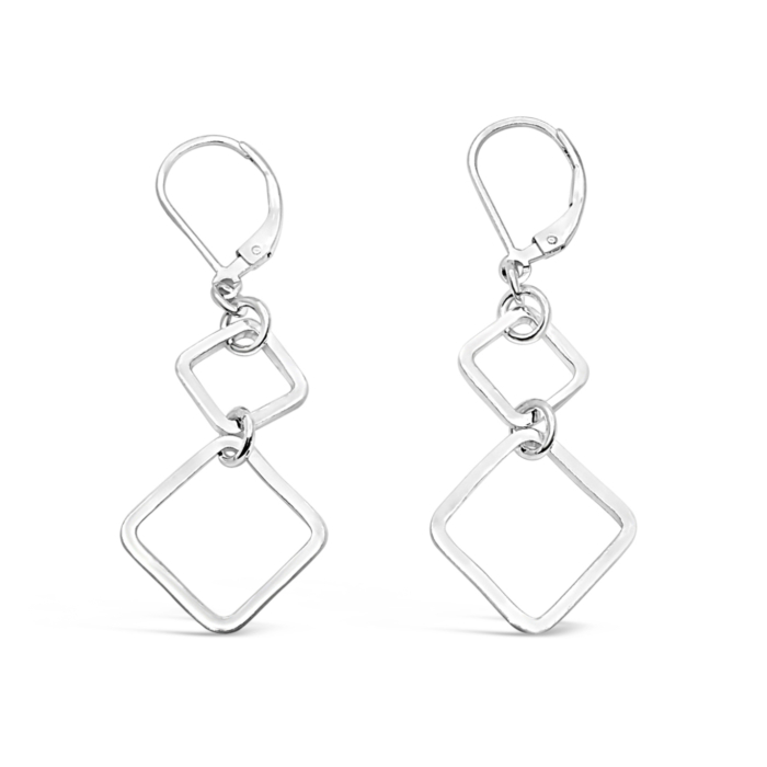 Sterling Silver Harmony Double Square Dangle Leverback Earrings