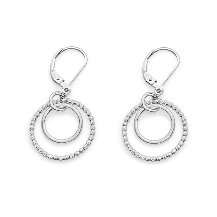 Sterling Silver Harmony Double Nested Circle Leverback Earrings
