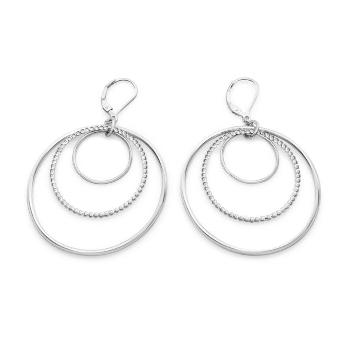 Sterling Silver Harmony Triple Nested Circle Statement Leverback Earrings