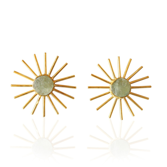 18kt Yellow Gold Plated Natural Raw Aquamarine Post Studs Earrings
