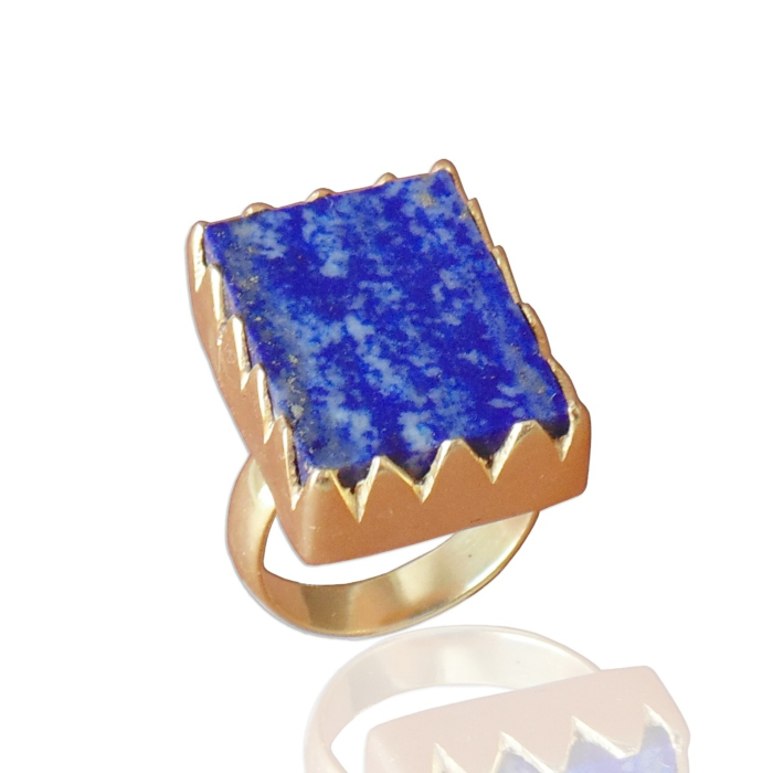 18kt Yellow Gold Plated Blue Lapis Lazuli Stackable Ring